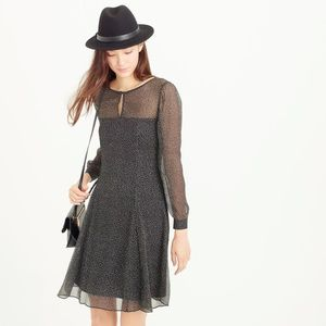J.Crew Long-sleeve speckled chiffon dress